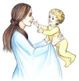 Madre felice con il bambino Struttura della matita Immagini Stock Libere da Diritti