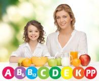 Madre felice e figlia che mangiano prima colazione Fotografie Stock Libere da Diritti