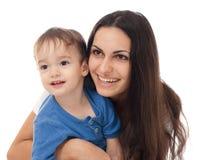 Madre felice e figlio isolati insieme Fotografia Stock Libera da Diritti