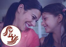 Madre felice e sua la figlia che celebrano il quarto luglio Immagini Stock