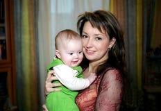 Madre felice ed il suo bambino Fotografia Stock Libera da Diritti