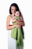 Madre feliz con el bebé del litle foto de archivo