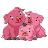 Madre feliz del cerdo de la historieta con los cochinillos stock de ilustración