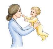 Madre feliz que juega con el bebé penciling Fotografía de archivo libre de regalías