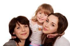 Madre feliz y dos hijas, adolescente y niño. Fotos de archivo libres de regalías