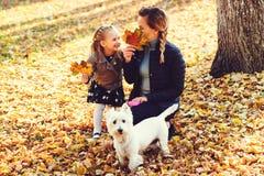 Madre, hija y su perro divirtiéndose en el parque del otoño entre las hojas que caen Paseo en el parque del otoño Muchacha y su m fotografía de archivo libre de regalías