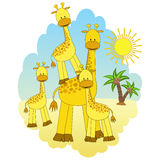 Madre-jirafa y bebé-jirafas.