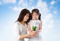 Familia asiática que toma la planta del cuidado fotos de archivo