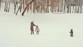 Madre joven con sus niños que juegan y que se divierten en la nieve metrajes
