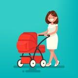 Madre joven que camina con un recién nacido que está en el cochecito de niño Vector Imagen de archivo