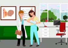 Madre joven que visita a un consejero de amamantamiento Clínica del consejero con el doctor, la madre joven y el niño Ilustración stock de ilustración
