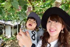 Madre joven y su niño que comen las uvas Foto de archivo