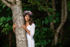 Madre natura che abbraccia albero Fotografia Stock