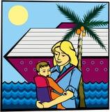 Madre, niño y mar Fotos de archivo libres de regalías