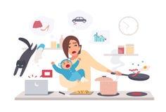 Madre ocupada con el bebé, mujer del multitask Maternidad, ejemplo plano de la historieta Fotos de archivo
