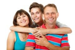 Madre, padre con el adolescente del hijo Familia caucásica feliz que tiene Fotografía de archivo libre de regalías