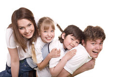 Madre, padre, hija e hijo felices de la familia. Fotos de archivo libres de regalías