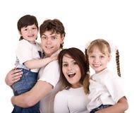 Madre, padre, hija e hijo felices de la familia. Imagen de archivo libre de regalías