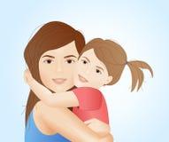 Madre que abraza su ejemplo de la hija stock de ilustración