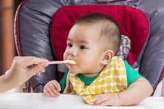 Madre que alimenta a su niño Imágenes de archivo libres de regalías