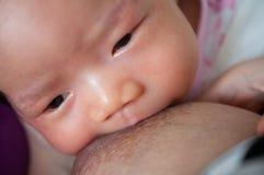 Madre que amamanta a su bebé recién nacido al lado de la ventana La leche del pecho del ` s de la madre es una medicina natural a Imagen de archivo libre de regalías