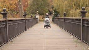 Madre que camina con el carrito almacen de metraje de vídeo