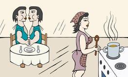 Madre que cocina y el esperar de los niños libre illustration