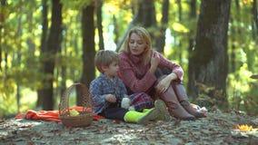 Madre sorridente con il bambino divertendosi nel parco di autunno Ritratto variopinto della donna di autunno Giovane genitore e b stock footage
