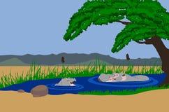 Madre y bebé del hipopótamo en el lago stock de ilustración