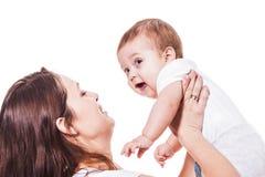 Madre y bebé en blanco Fotografía de archivo libre de regalías