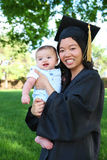 Madre y bebé en la graduación Imágenes de archivo libres de regalías