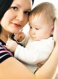 Madre y bebé hermosos Foto de archivo libre de regalías