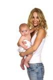 Madre y bebé lindos fotografía de archivo