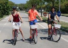 Madre y dos hermanos en las bicis foto de archivo