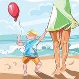 Madre y niño en la playa Imagenes de archivo