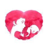 Madre y niño logotipo, icono, muestra, emblema, ilustración del vector