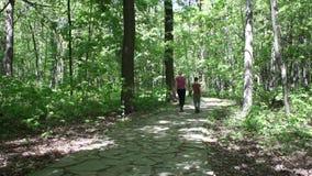 Madre y niño que caminan en un parque en verano almacen de metraje de vídeo