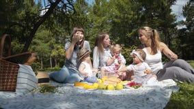 Madres jovenes con los niños que se sientan en un parque en una comida campestre almacen de video