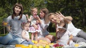 Madres jovenes con los niños que se sientan en un parque en una comida campestre metrajes