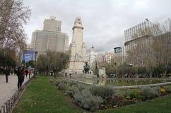 Madri da Espanha, quadrado da Espanha no Madri com o monumento a Cervantes Foto de Stock
