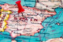 Madri, Espanha fixada no mapa do vintage de Europa Imagens de Stock