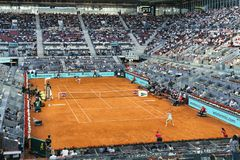 Madri, Espanha; 11 pode 2019: O centro do tênis de Caja Magica durante tênis 2019 imperativo aberto do Madri WTA de Mutua o prime fotos de stock royalty free