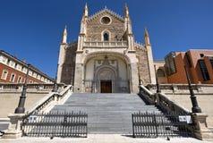 Madri - fachada ocidental da igreja gótico San Jeronimo el Real Foto de Stock