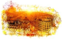 Madri, Gran Via fotografia de stock