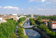 Madrid. View of the Manzanares River and the city of Madrid Royalty Free Stock Photo