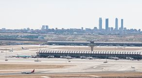 Madrid airport. View of international airport Barajas, with the skyline of Madrid in the background Royalty Free Stock Photography