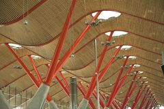 Madrid airport hall. Concrete and steel pillars in the new modern hall of Madrid Airport Royalty Free Stock Photography