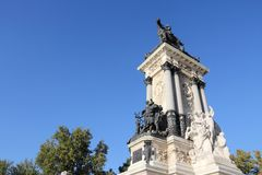 Madrid Alfonso monument. Madrid landmark in Spain. Monument to Alfonso XII in Retiro Park Stock Photo