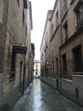 Madrid alley. Alone street walks stock photos