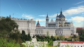 Madrid, Almudena Cathedral and Royal Palace - Spain stock video